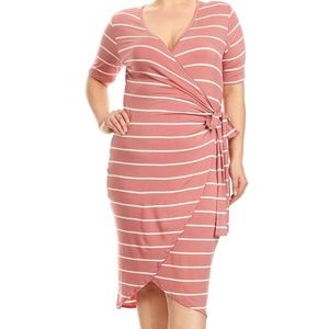 Beautiful Mauve & white Faux wrap Dress Plus size